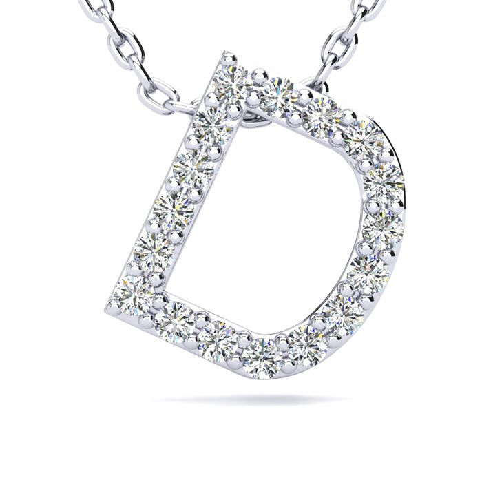 D Initial Necklace in White Gold (2.4 g) w/ 17 Diamonds, H/I, 18