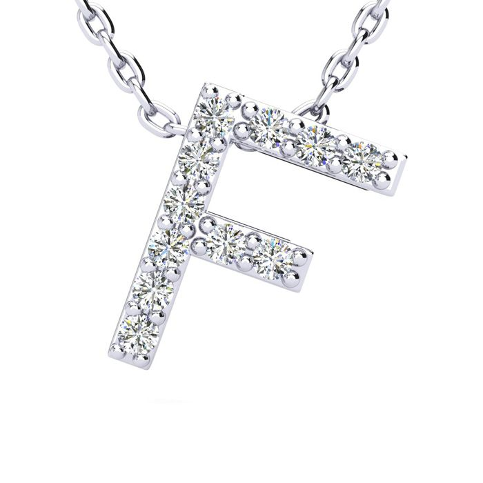 F Initial Necklace in White Gold (2.4 g) w/ 11 Diamonds, H/I, 18 Inch Chain by SuperJeweler