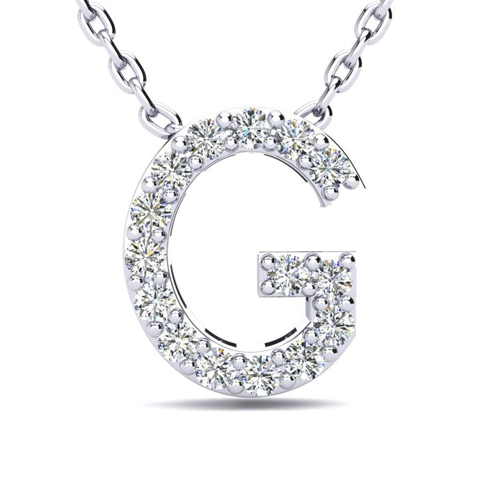 G Initial Necklace in White Gold (2.4 g) w/ 15 Diamonds, H/I, 18 Inch Chain by SuperJeweler