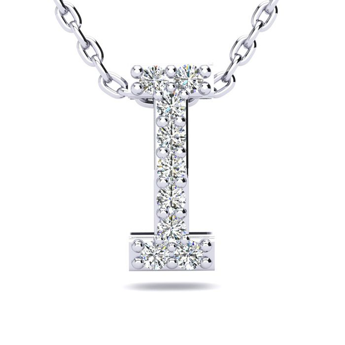 I Initial Necklace in White Gold (2.4 g) w/ 9 Diamonds, H/I, 18 Inch Chain by SuperJeweler