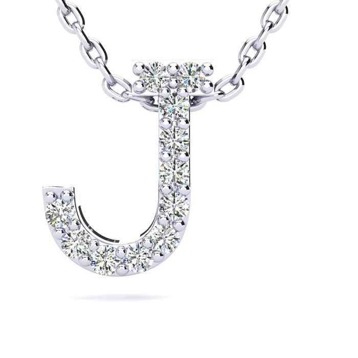 J Initial Necklace in White Gold (2.4 g) w/ 11 Diamonds, H/I, 18