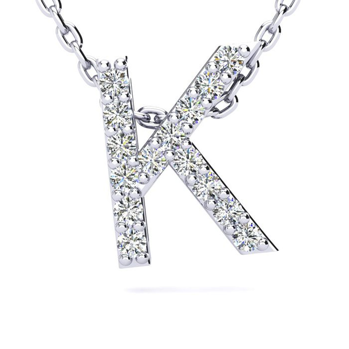 K Initial Necklace in White Gold (2.4 g) w/ 15 Diamonds, H/I, 18