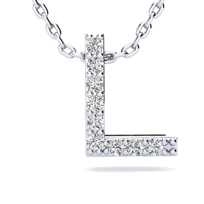 L Initial Necklace in White Gold (2.4 g) w/ 9 Diamonds, H/I, 18 I