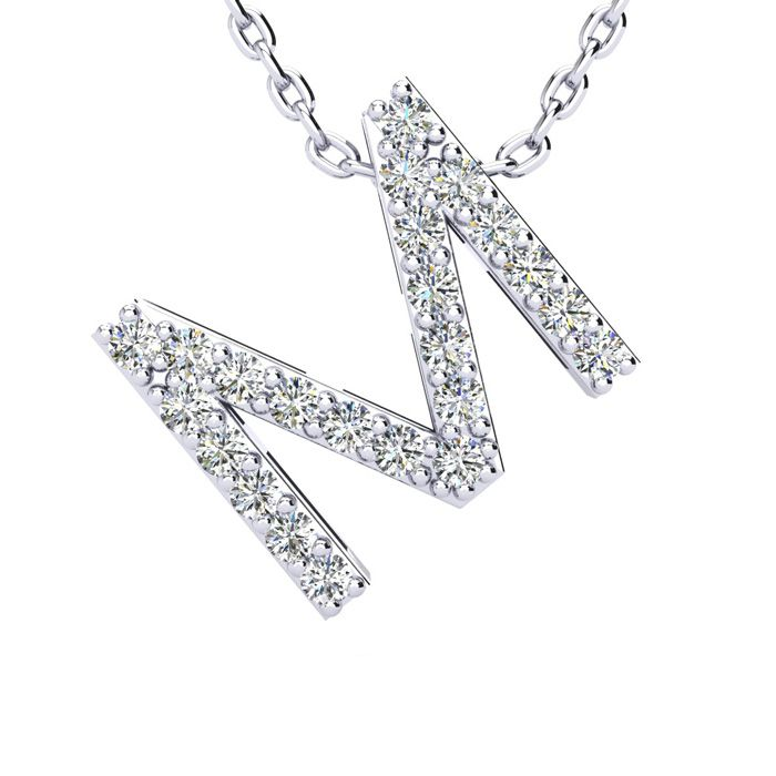 M Initial Necklace in White Gold (2.4 g) w/ 23 Diamonds, H/I, 18 Inch Chain by SuperJeweler