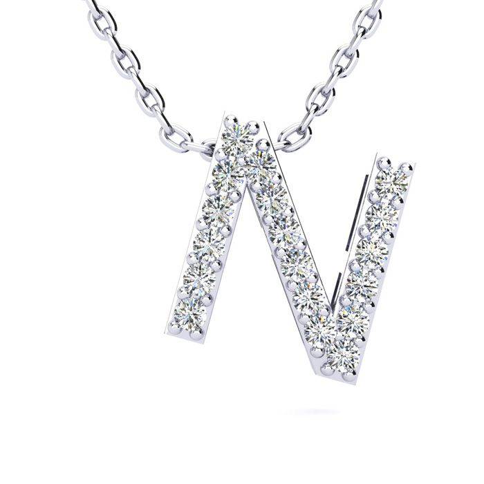 N Initial Necklace in White Gold (2.4 g) w/ 18 Diamonds, H/I, 18