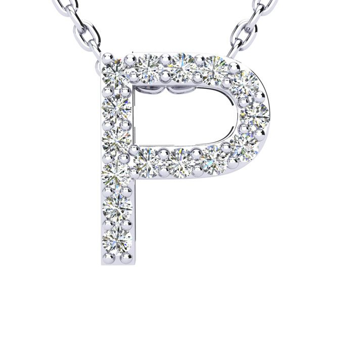 P Initial Necklace in White Gold (2.4 g) w/ 15 Diamonds, H/I, 18