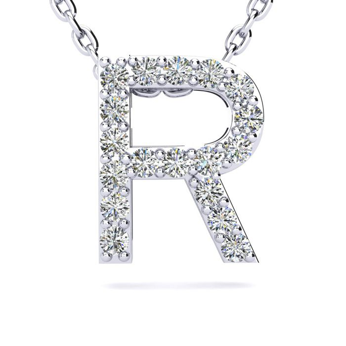R Initial Necklace in White Gold (2.4 g) w/ 18 Diamonds, H/I, 18 Inch Chain by SuperJeweler