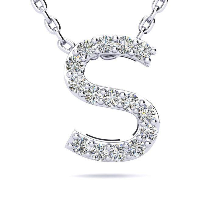 S Initial Necklace in White Gold (2.4 g) w/ 15 Diamonds, H/I, 18