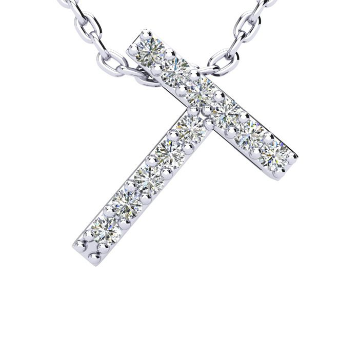 T Initial Necklace in White Gold (2.4 g) w/ 11 Diamonds, H/I, 18