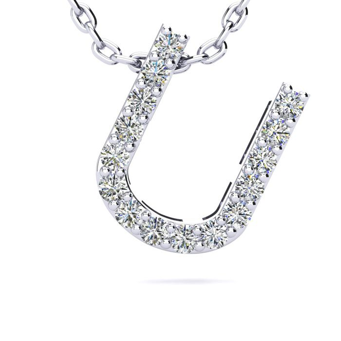U Initial Necklace in White Gold (2.4 g) w/ 15 Diamonds, H/I, 18