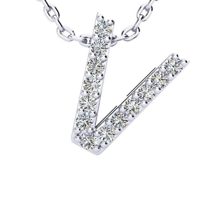 V Initial Necklace in White Gold (2.4 g) w/ 13 Diamonds, H/I, 18