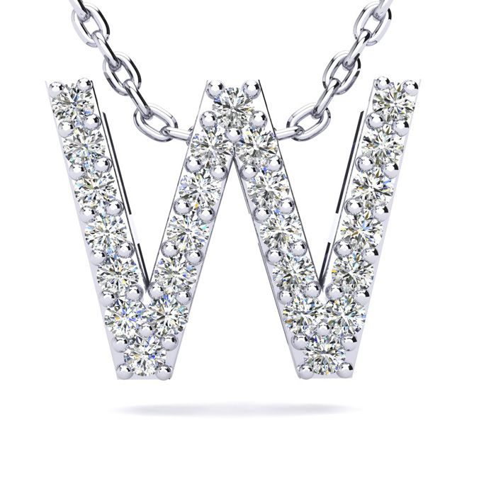 W Initial Necklace in White Gold (2.4 g) w/ 25 Diamonds, H/I, 18