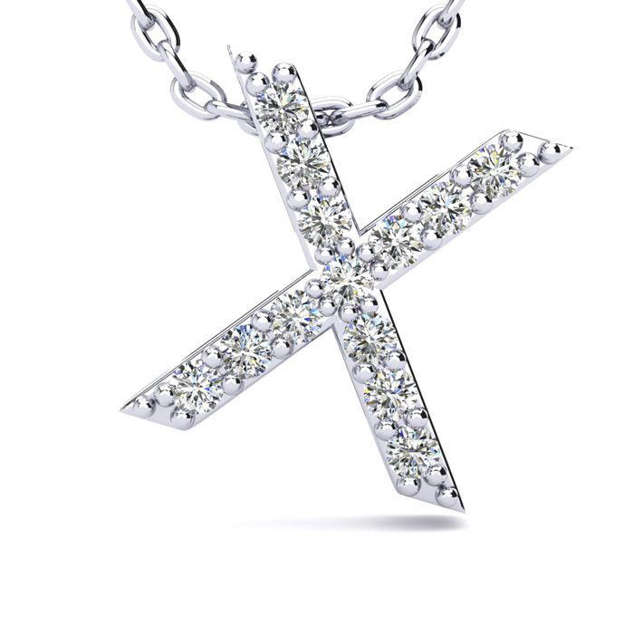 X Initial Necklace in White Gold (2.4 g) w/ 13 Diamonds, H/I, 18