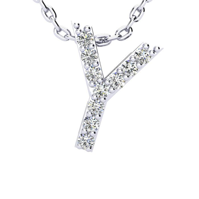 Y Initial Necklace in White Gold (2.4 g) w/ 10 Diamonds, H/I, 18