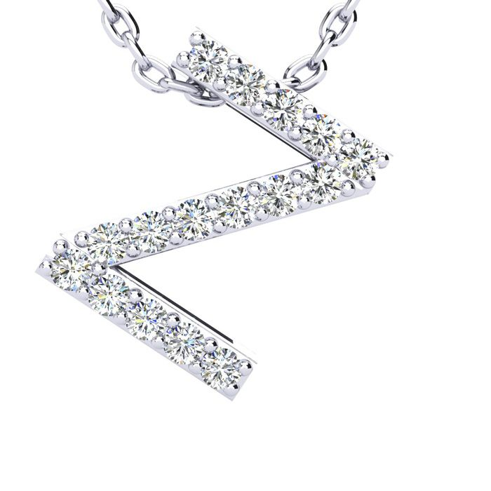 Z Initial Necklace in White Gold (2.4 g) w/ 16 Diamonds, H/I, 18