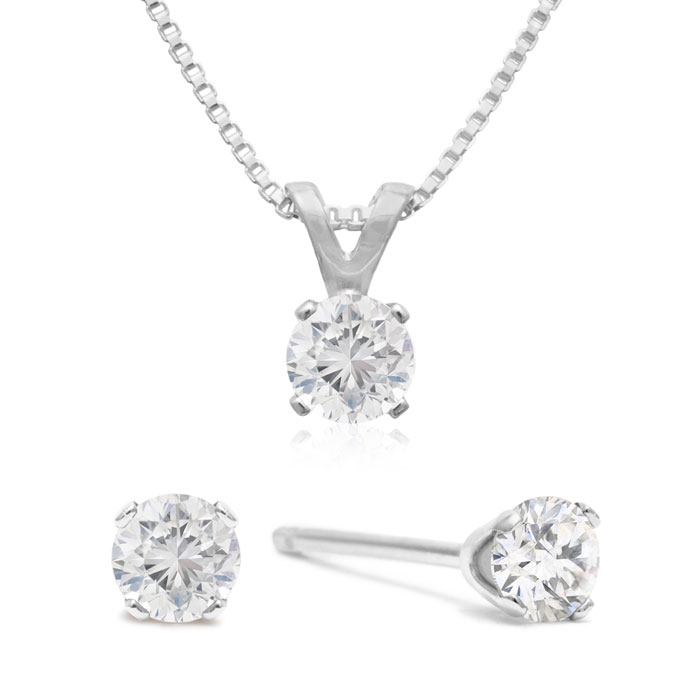 Raised Ly 1 3 Carat Diamond Studs And Necklace Set In Solid 925 Silver Out Item Number Jwl 16634