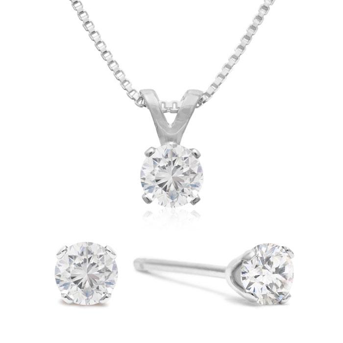 Appraised 1/3 Carat Diamond Studs & Necklace Set, J/K in Sterling Silver by SuperJeweler