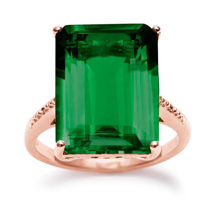 11 Carat Green Amethyst & Diamond Ring in 14K Rose Gold Over Ster