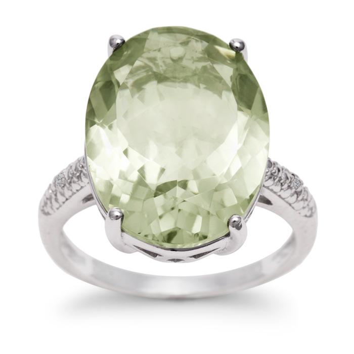10 1/2 Carat Oval Shape Green Amethyst & Diamond Ring in Sterling