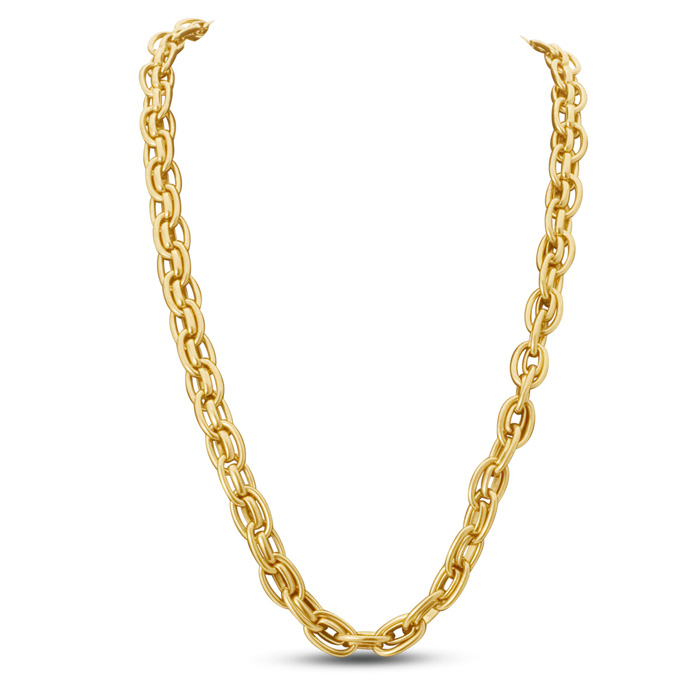Antique Gold Oval Link Necklace by Passiana