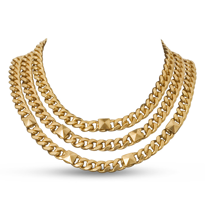 Triple Strand Gold Tone Necklace by Passiana