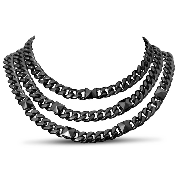 Triple Strand Gunmetal Necklace by Passiana