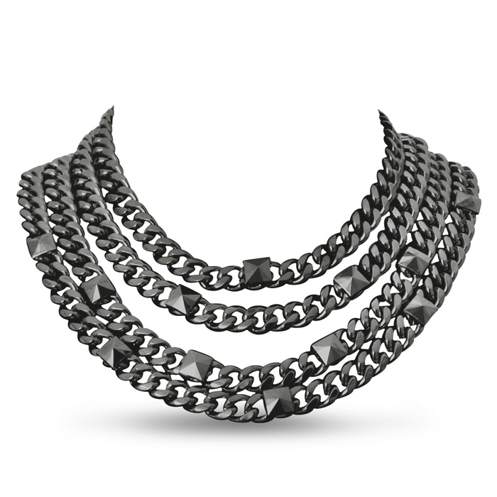 Quadruple Strand Gunmetal Necklace by Passiana