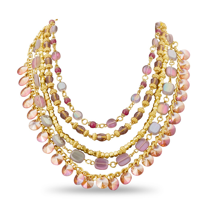 Multi-Colored Gold Tone Bib Necklace by Passiana