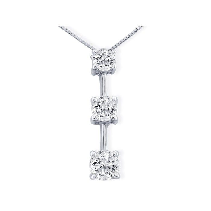 Impressive 2 Carat Fine Three Diamond Line Necklace in 14k White