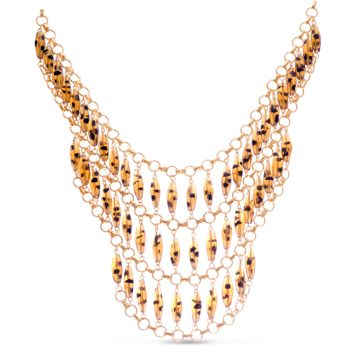 Tortoise Triple Strand Bib Necklace by Passiana