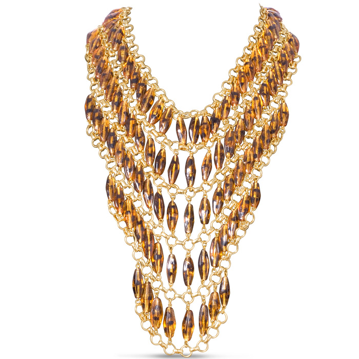 Tortoise Statement Bib Necklace by Passiana