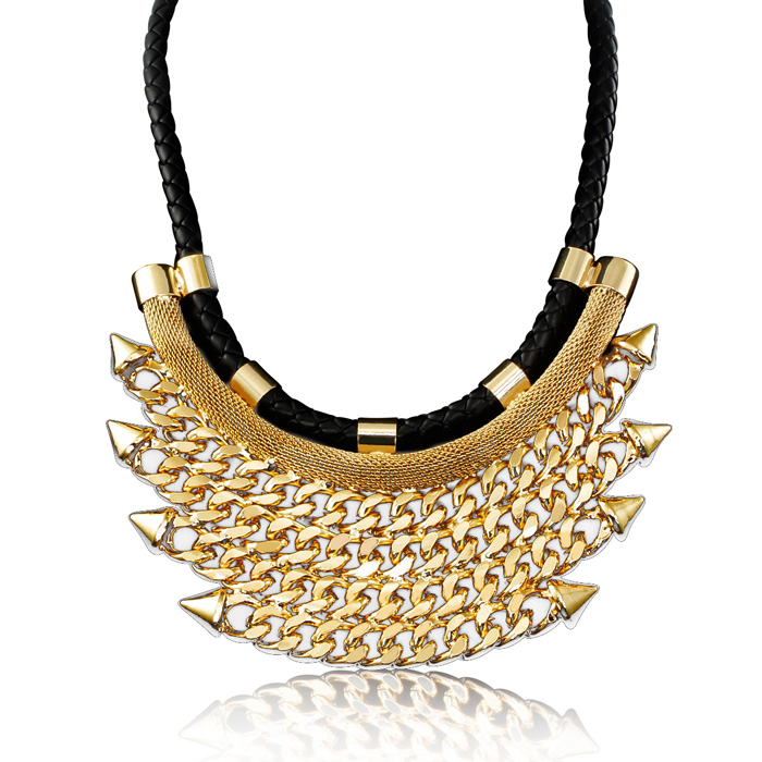 Black Rope & Golden Chain Necklace Bib, 16 Inch Chain Necklace by Passiana