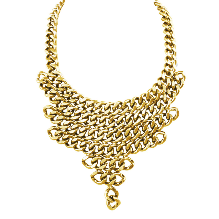 Gold V Shaped Chain Necklace Bib by Passiana