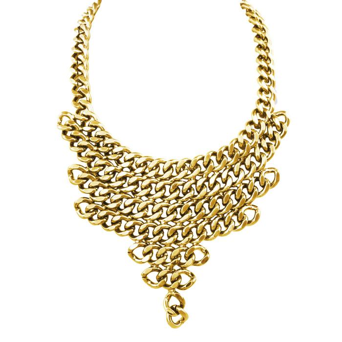 Gold V Shaped Chain Necklace Bib by Passiana