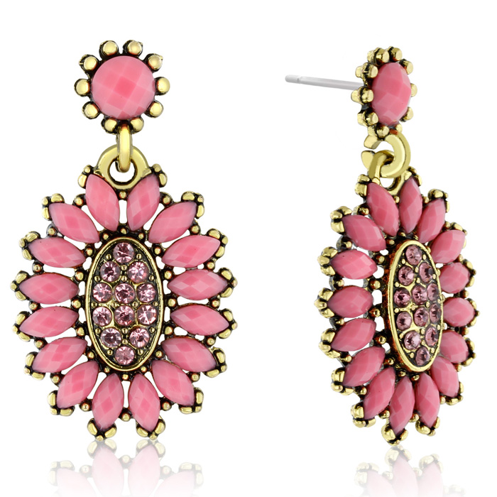 Passiana Cluster Flower Crystal Earrings, Pink