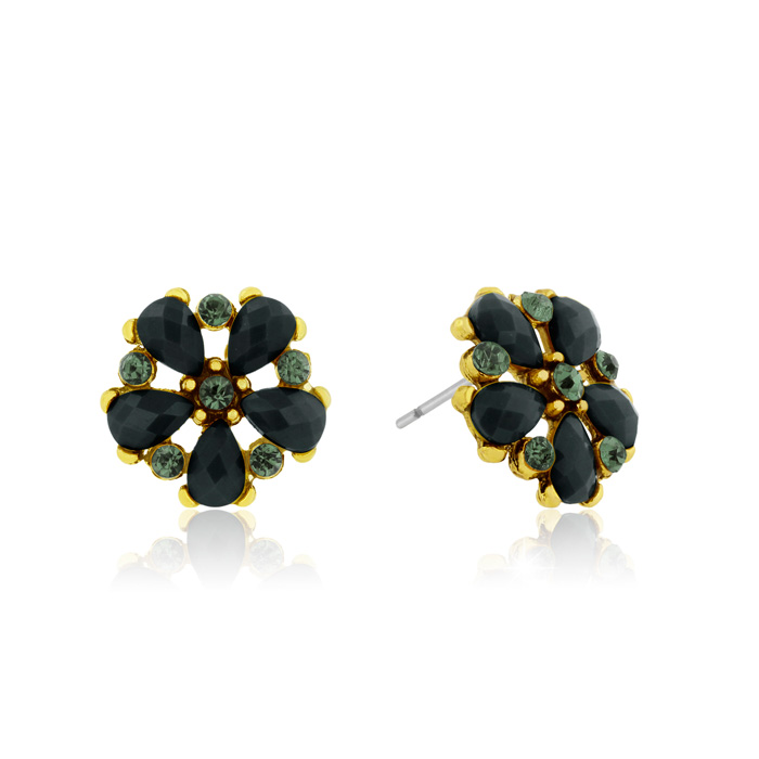 Passiana Dainty Flower Crystal Earrings, Black