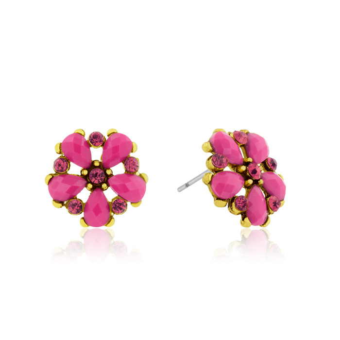 Passiana Dainty Flower Crystal Earrings, Pink
