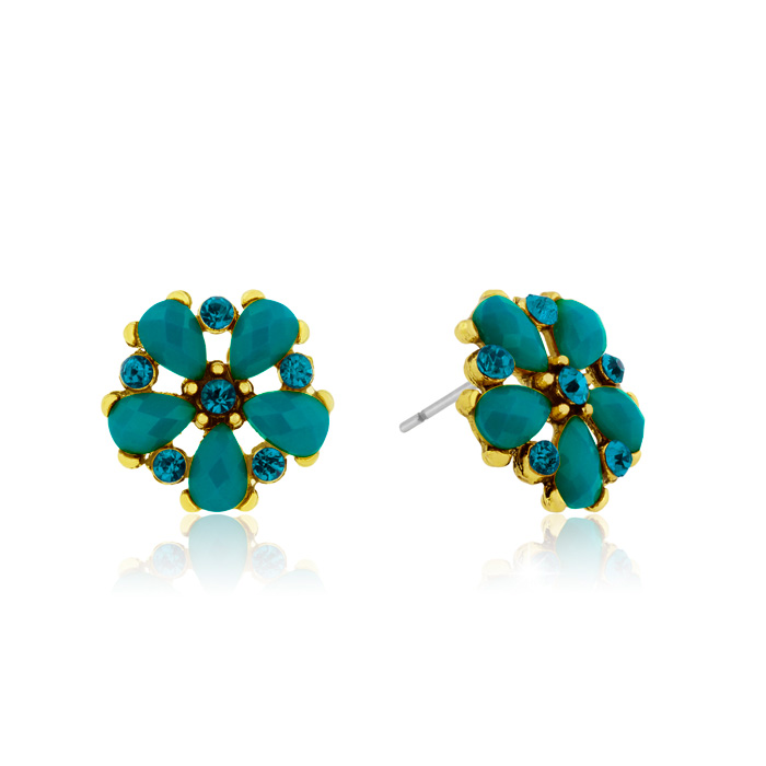 Passiana Dainty Flower Crystal Earrings, Turq