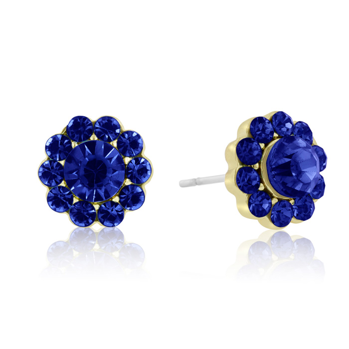 Passiana Mini Flower Crystal Earrings, Blue