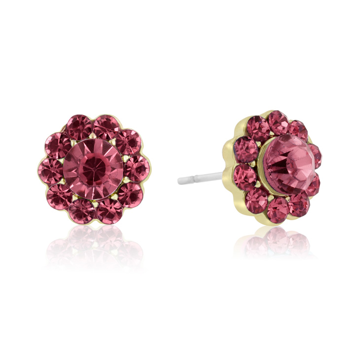 Passiana Mini Flower Crystal Earrings, Pink