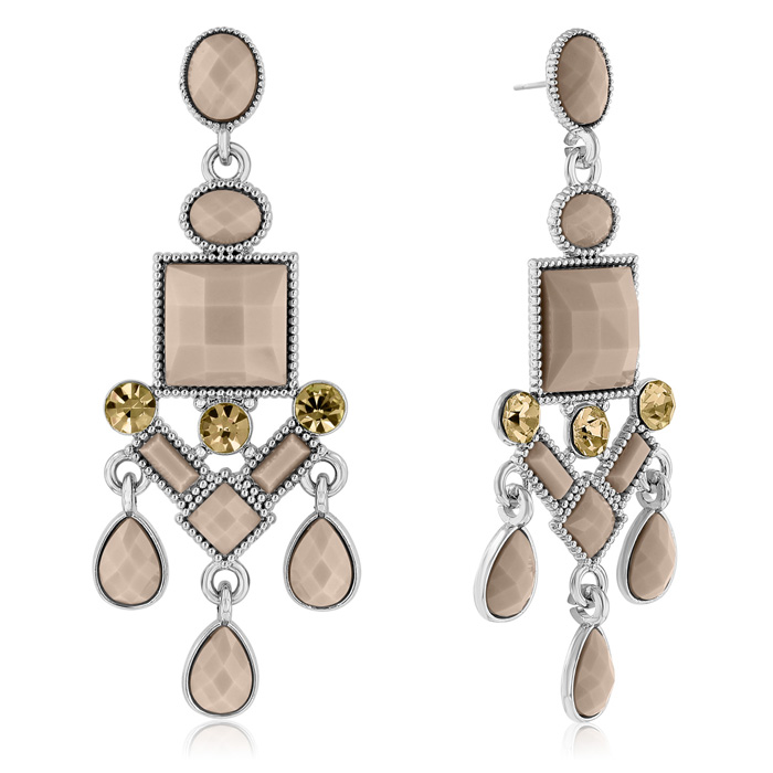 Passiana Chandelier Crystal Earrings, Almond