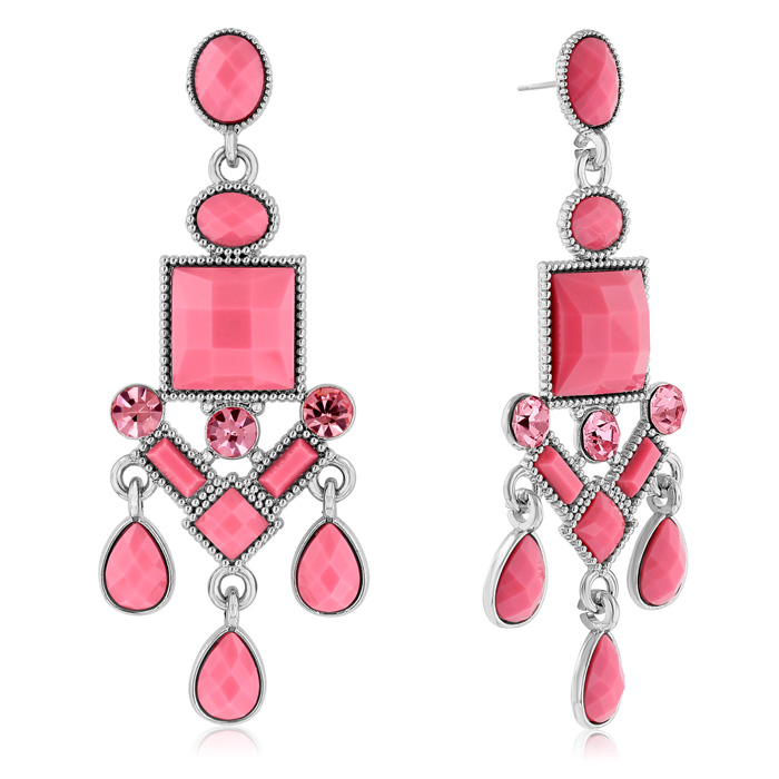 Passiana Chandelier Crystal Earrings, Pink