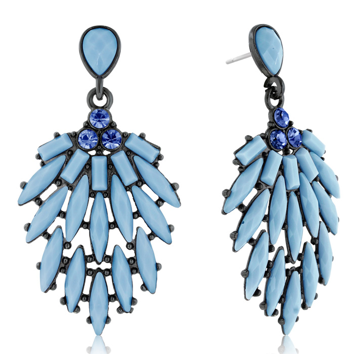 Passiana Casing Crystal Earrings, Blue