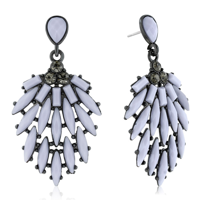 Passiana Casing Crystal Earrings, Gray