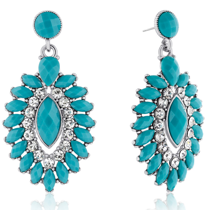 Passiana Evil Eye Crystal Earrings, Turquoise