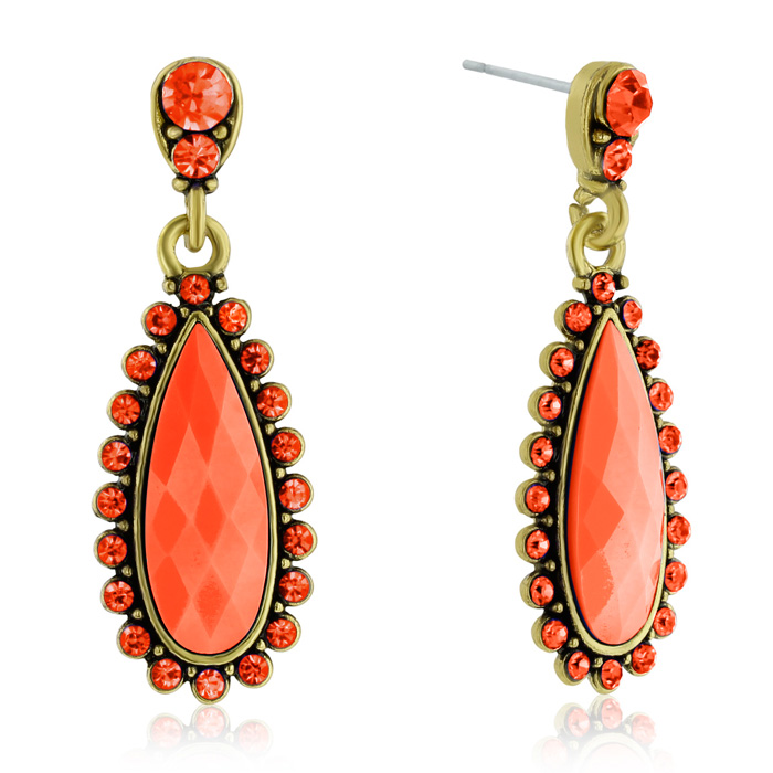 Drop Crystal Earrings, Orange by Passiana