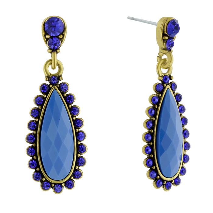 Drop Crystal Earrings, Blue by Passiana