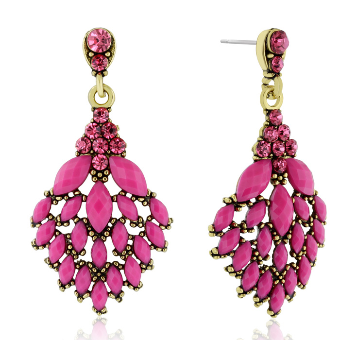 Passiana Casing Crystal Earrings, Pink
