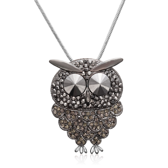 Gunmetal & Black Crystal Owl Necklace, 18 Inches by SuperJeweler