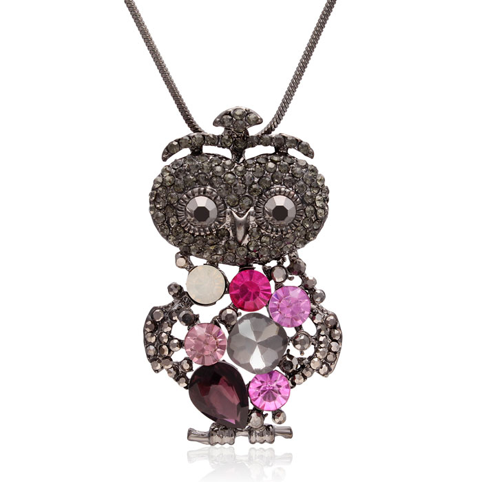 Crystal Opal, Amethyst & Pink Topaz Princess Owl Necklace, 18 Inches by SuperJeweler